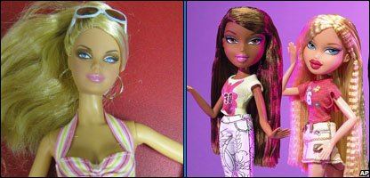 Barbie and Bratz dolls