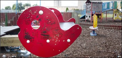 Play equipment with graffiti