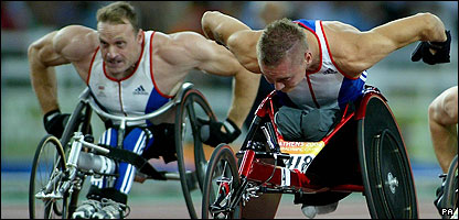 Great Britain's Dave Weir (right) and David Holding at the 2004 Paralympics
