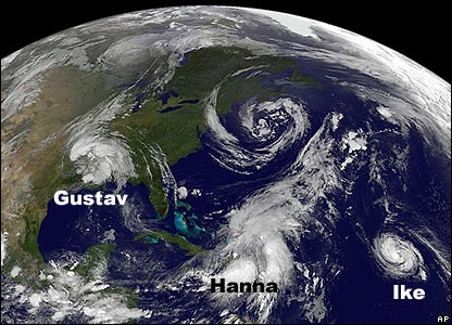 Hurricanes seen on a satellite image