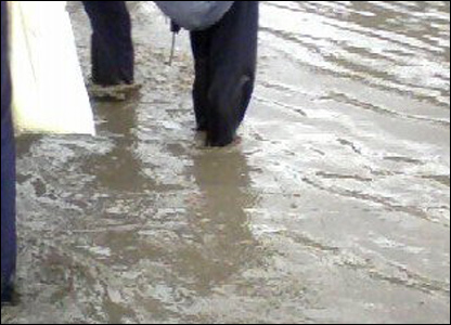 feet in floodwater