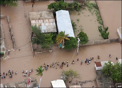 flooding caused by Hurricane Hanna in Gonaives, Haiti's second largest city