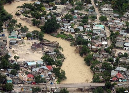 aerial view of the flooding caused by Hurricane Hanna in Gonaives