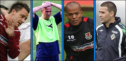 Rio Ferdinand, Kenny Miller, Robert Earnshaw and David Healy