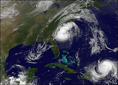 Tropical storms Hanna and Ike