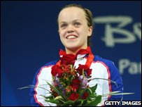 "Eleanor Simmonds of Great Britain wins the gold medal in the Women""s 100m Freestyle (Photo by Feng Li/Getty Images)"