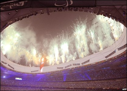 Fireworks lit up the National Stadium (Photo:  GOH CHAI HIN/AFP/Getty Images