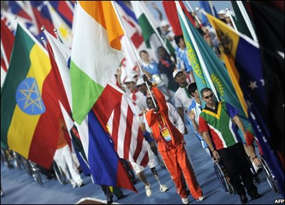 Athletes start the closing ceremony for the 2008 Beijing Paralympic Games (Photo PETER PARKS/AFP/Getty Images)