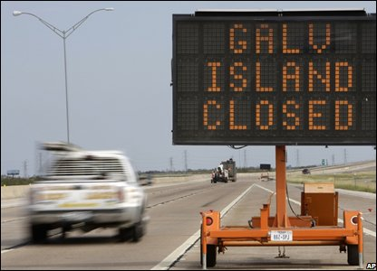 A sign saying Galveston Island closed (AP Photo/Matt Rourke)