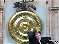 Professor Stephen Hawking unveiled the huge clock