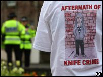 A t-shirt being worn during the anti-knife demostration in Scotland