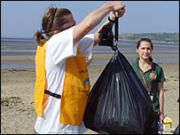 All the rubbish collected at the beach gets weighed
