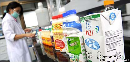 Milk products being tested in China