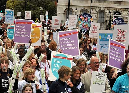 A march against child poverty in London