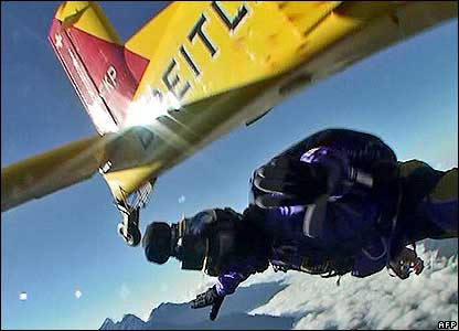 A skydiver over Mount Everest