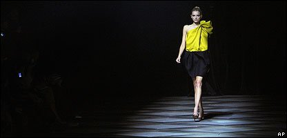 A model on a catwalk in Paris