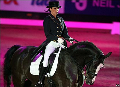Model Katie Price has given a dressage demonstration at the Horse of the Year Show.