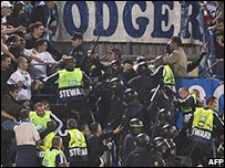 Marseille fans at Atletico Madrid's ground