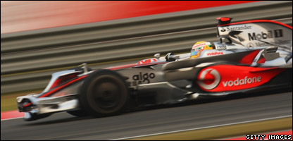 Lewis Hamilton driving in the Chinese Grand Prix