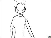 A drawing of an alien