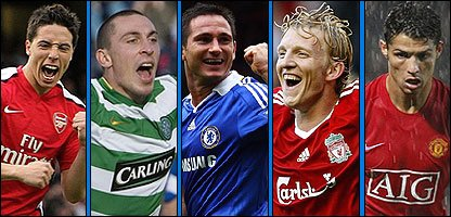 Samir Nasri, Scott Brown, Frank Lampard, Dirk Kuyt and Cristiano Ronaldo