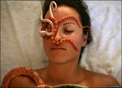 A woman with snakes on her face