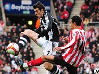 Newcastle's Joey Barton in action with Sunderland's Kieran Richardson Owen Humphreys/PA Wire
