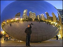 Adam at The Bean sculpture