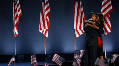 Obama and his wife after the Victory