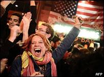 奧巴馬支持者歡呼