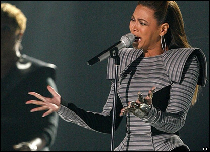 Beyonce performing at the MTV Europe Music Awards in Liverpool