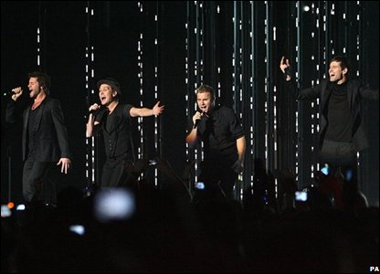 Take That performing at the MTV Europe Music Awards in Liverpool
