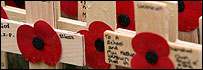 Poppy crosses at Westminster Abbey