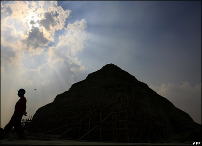 The site of a newly-discovered pyramid near Cairo in Egypt