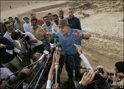 Zahi Hawass talking to the media