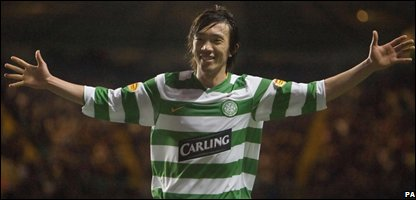 Celtic midfielder Shunzuke Nakamura celebrates scoring the third goal