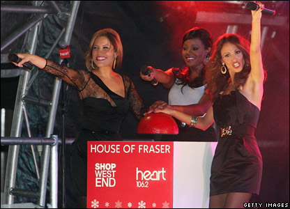 The Sugababes turning on the Chrsitmas lights in London's Oxford Street