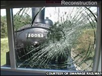 A graphic of the smashed window