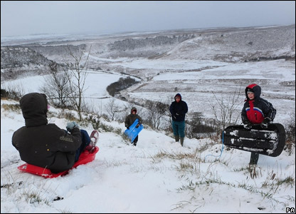 Kids playing in the snow in the North Yorkshire Moors