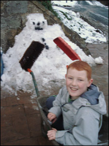 Kam with his snowman