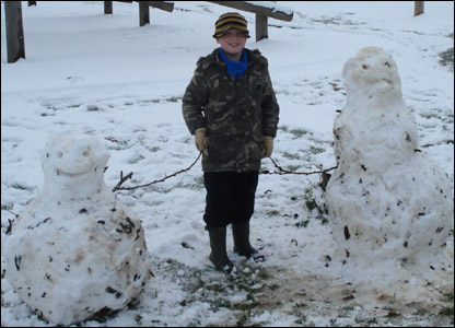 Kam with his snowmen
