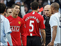 Cristiano Ronaldo is sent off for Manchester United