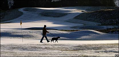 Snow on a golf course in Scotland