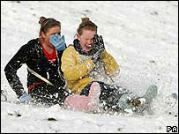 Children go sledging in Ramsbottom
