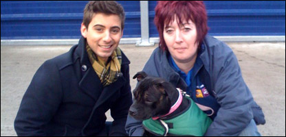 Ricky and Ali with a Staffordshire Bull Terrier