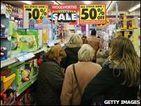 Shoppers in Woolworths