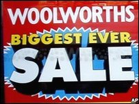 Poster for Woolworths sale