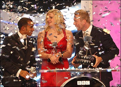 Lewis Hamilton, Rebecca Adlington and Chris Hoy