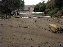 A mudslide near a home in California
