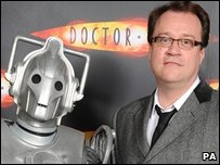 A Cyberman with Russell T Davies